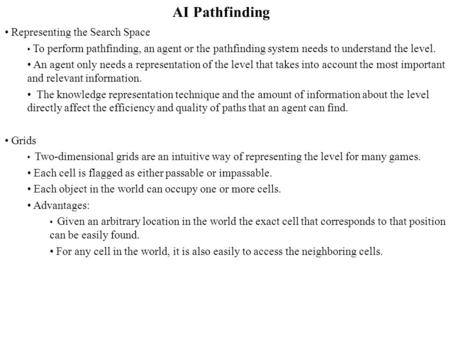 AI Pathfinding Representing the Search Space