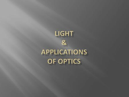 Light & APPLICATIONS OF Optics