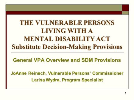 General VPA Overview and SDM Provisions