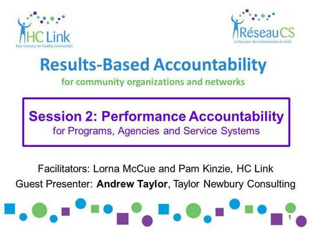 1 Facilitators: Lorna McCue and Pam Kinzie, HC Link Guest Presenter: Andrew Taylor, Taylor Newbury Consulting Results-Based Accountability for community.