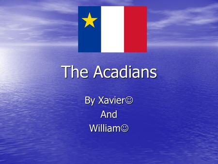 The Acadians By Xavier And William. The Acadian flag and there famous meat pie The Acadian flag and there famous meat pie.