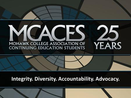 Integrity. Diversity. Accountability. Advocacy.. MCACES is the student association for Continuing Education (CE) and Distance Education (DE) Students.