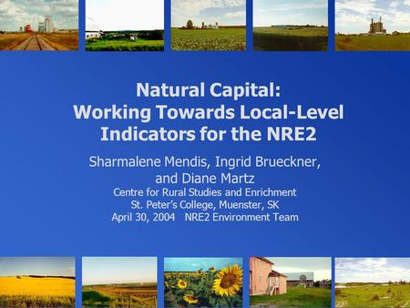 Natural Capital: Working Towards Local-Level Indicators for the NRE2 Sharmalene Mendis, Ingrid Brueckner, and Diane Martz Centre for Rural Studies and.