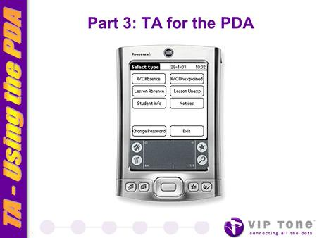 1 Part 3: TA for the PDA *******. 2 Introduction TA is an application designed to: Integrate with the host SIS (EDSAS) Provide a mobile solution to tracking.