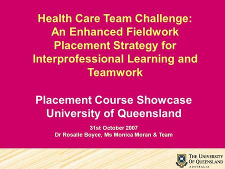 Health Care Team Challenge: An Enhanced Fieldwork Placement Strategy for Interprofessional Learning and Teamwork Placement Course Showcase University of.