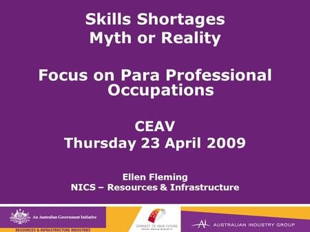 Title here Skills Shortages Myth or Reality Focus on Para Professional Occupations CEAV Thursday 23 April 2009 Ellen Fleming NICS – Resources & Infrastructure.