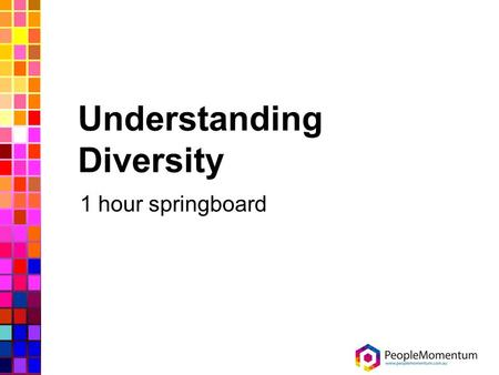 Understanding Diversity 1 hour springboard. Objectives At the end of this session you will be able to: Recognise the meaning of diversity Identify the.