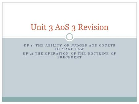 Unit 3 AoS 3 Revision DP 1: The ability of judges and courts to make law DP 2: The operation of the doctrine of precedent.