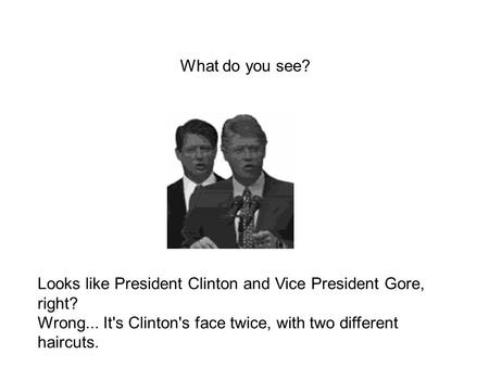 Looks like President Clinton and Vice President Gore, right? Wrong... It's Clinton's face twice, with two different haircuts. What do you see?