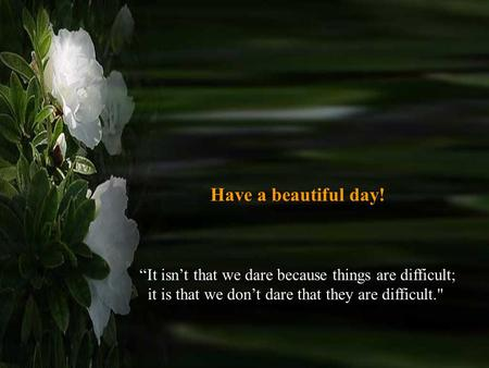 "Have a beautiful day! ""It isn't that we dare because things are difficult; it is that we don't dare that they are difficult."