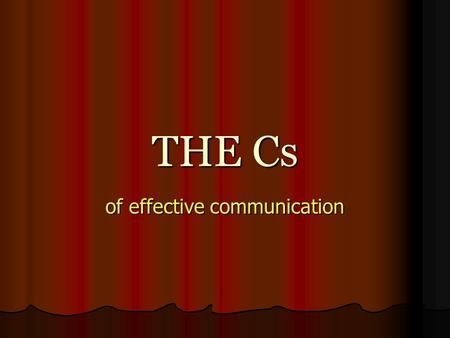 of effective communication