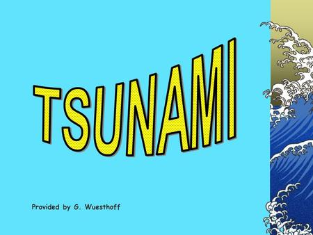 TSUNAMI Provided by G. Wuesthoff.