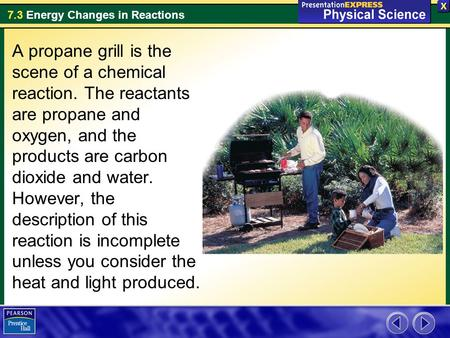 A propane grill is the scene of a chemical reaction
