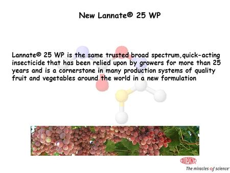 New Lannate® 25 WP Lannate® 25 WP is the same trusted broad spectrum,quick-acting insecticide that has been relied upon by growers for more than 25 years.