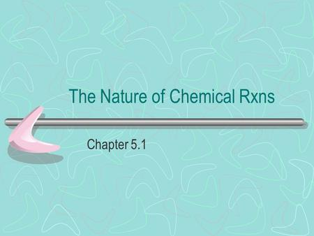 The Nature of Chemical Rxns Chapter 5.1. Signs of a Reaction 1.Heat production (sometimes) 2.Color change (sometimes) 3.Fire/Smoke 4.Property change 5.Solid.