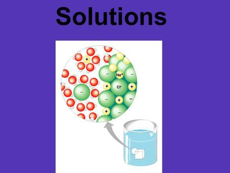 "Solutions. solute solvent substance being dissolved substance in which solute is dissolved ""VATER"""