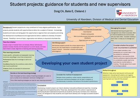 Student projects: guidance for students and new supervisors Doig CA, Bate E, Cleland J University of Aberdeen, Division of Medical and Dental Education.
