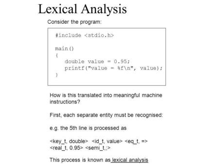 Lexical Analysis Consider the program: #include main() { double value = 0.95; printf(value = %f\n, value); } How is this translated into meaningful machine.