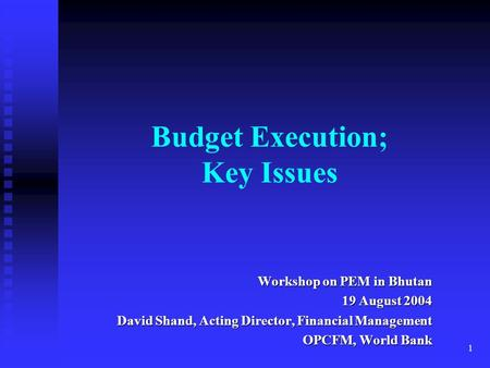 Budget Execution; Key Issues