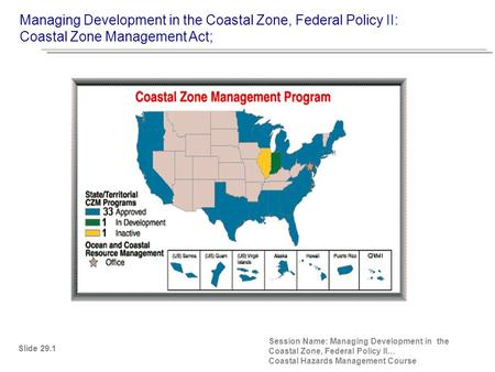 Managing Development in the Coastal Zone, Federal Policy II: Coastal Zone Management Act; Slide 29.1 Session Name: Managing Development in the Coastal.