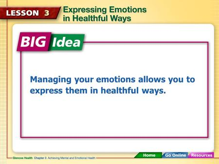 Managing your emotions allows you to express them in healthful ways.