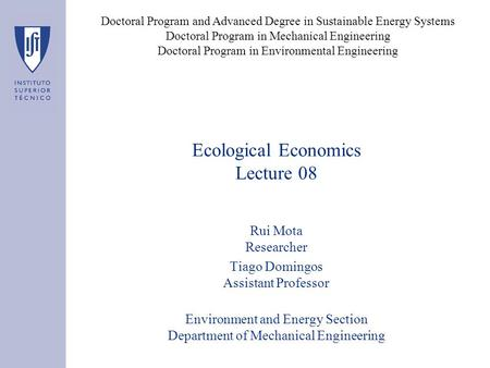Ecological Economics Lecture 08 Rui Mota Researcher Tiago Domingos Assistant Professor Environment and Energy Section Department of Mechanical Engineering.