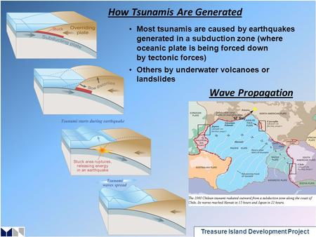 Treasure Island Development Project How Tsunamis Are Generated Most tsunamis are caused by earthquakes generated in a subduction zone (where oceanic plate.