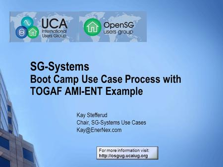 SG-Systems Boot Camp Use Case Process with TOGAF AMI-ENT Example Kay Stefferud Chair, SG-Systems Use Cases For more information visit: