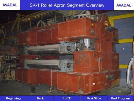 BeginningNext SlideBack End Program AVADAL 1 of 21 SK-1 Roller Apron Segment Overview.