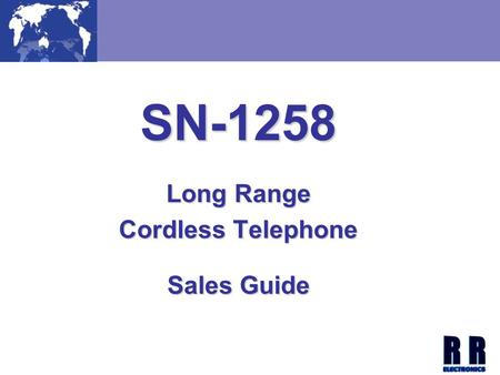 SN-1258 Long Range Cordless Telephone Sales Guide.