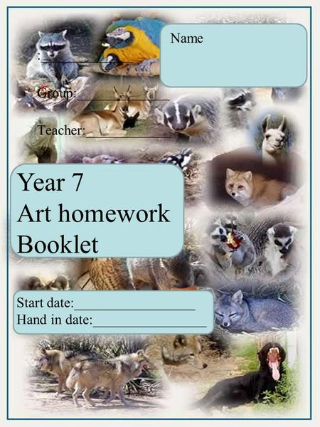 Year 7 Art homework Booklet