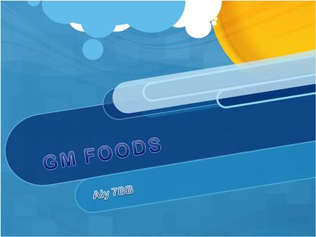 Introduction aly 7BB What is GM foods ? GM foods are modified so that they can have more protection and have them reproduced faster, the proper explanation.