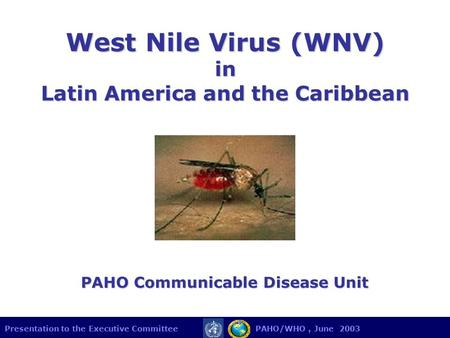 Presentation to the Executive Committee PAHO/WHO, June 2003 West Nile Virus (WNV) in Latin America and the Caribbean PAHO Communicable Disease Unit.