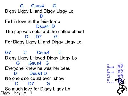 G Gsus4 G Diggy Liggy Li and Diggy Liggy Lo D Fell in love at the fais-do-do Dsus4 D The pop was cold and the coffee chaud D D7 G For Diggy Liggy Li and.