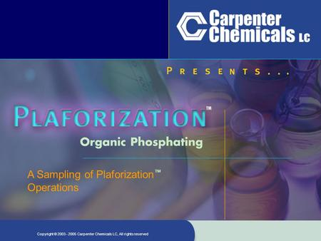 Copyright ©2003 - 2005 Carpenter Chemicals LC, All rights reserved A Sampling of Plaforization ™ Operations.