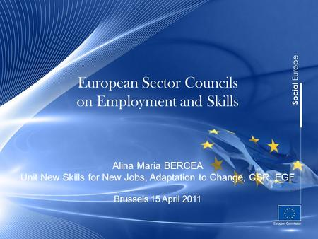 European Sector Councils on Employment and Skills Alina Maria BERCEA Unit New Skills for New Jobs, Adaptation to Change, CSR, EGF Brussels 15 April 2011.