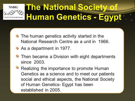 The human genetics activity started in the National Research Centre as a unit in 1966. The National Society of Human Genetics - Egypt As a department in.