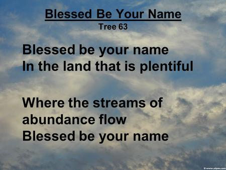 Blessed Be Your Name Tree 63 Blessed be your name In the land that is plentiful Where the streams of abundance flow Blessed be your name.