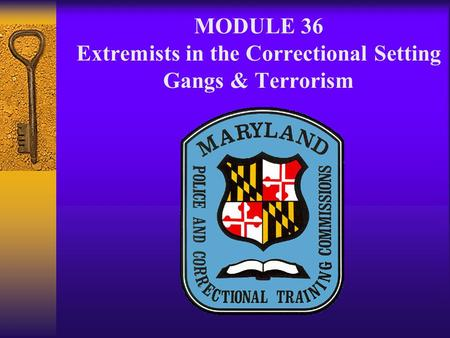 MODULE 36 Extremists in the Correctional Setting Gangs & Terrorism.