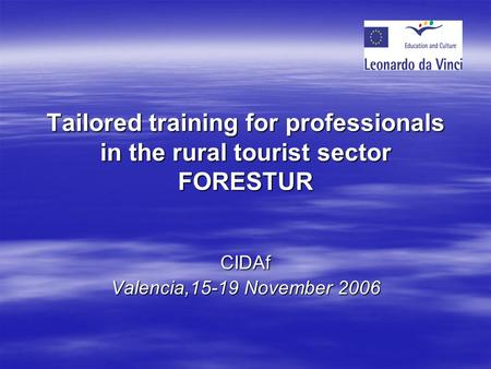 Tailored training for professionals in the rural tourist sector FORESTUR CIDAf Valencia,15-19 November 2006.