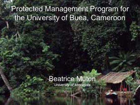 Protected Management Program for the University of Buea, Cameroon Beatrice Muton University of Minnesota.