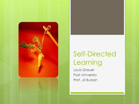 Self-Directed Learning Louis Grauer Post University Prof. Jill Buban.