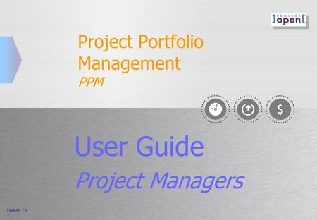 Project Portfolio Management PPM User Guide Project Managers Version 1.0.