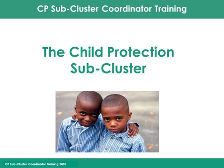 CP Sub-Cluster Coordinator Training CP Sub-Cluster Coordinator Training 2010 The Child Protection Sub-Cluster.