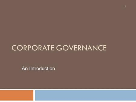 Corporate Governance An Introduction.