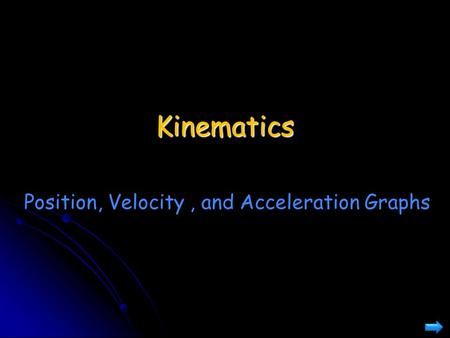 Kinematics Position, Velocity , and Acceleration Graphs.