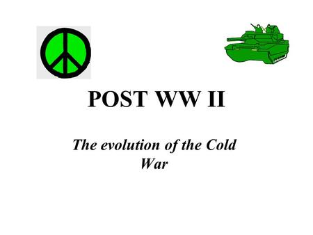POST WW II The evolution of the Cold War. Atlantic Charter Self- determination Post War Organization Yalta Peace after victory UN with Allied Powers US.