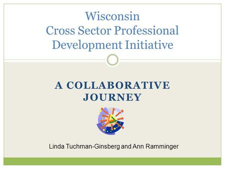 A COLLABORATIVE JOURNEY Wisconsin Cross Sector Professional Development Initiative Linda Tuchman-Ginsberg and Ann Ramminger.
