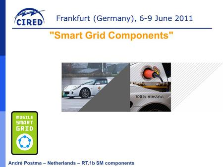 Frankfurt (Germany), 6-9 June 2011 André Postma – Netherlands – RT.1b SM components Smart Grid Components