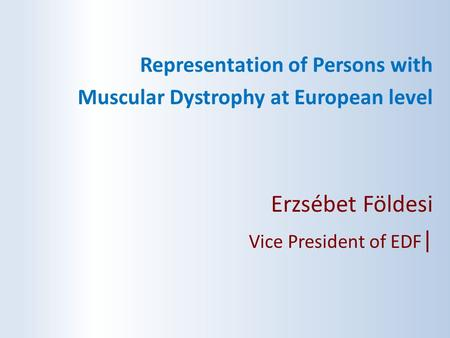 Erzsébet Földesi Representation of Persons with